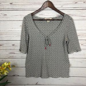 Lucky Brand Gray White Striped Tassel Knit Top
